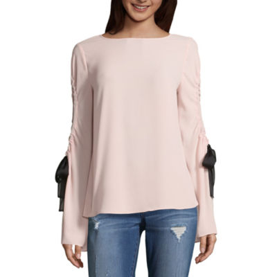 a.n.a Ana Cutout Sleeve Blouse Long Sleeve Crew Neck Woven Blouse