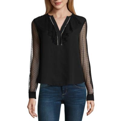 Libby Edelman Long Sheer Sleeve Woven Top