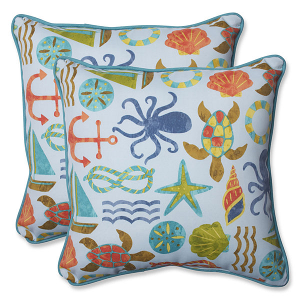 Pillow Perfect Seapoint Square Outdoor Pillow - Set of 2