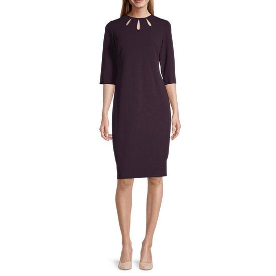 Danny & Nicole 3/4 Sleeve Sheath Dress