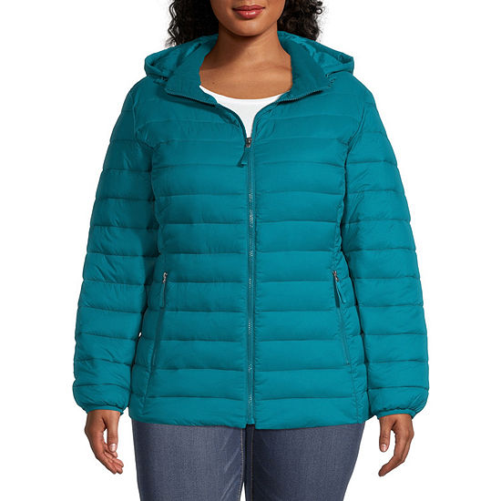 St. John's Bay Hooded Packable Lightweight Puffer Jacket-Plus