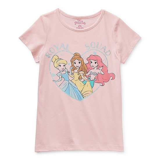 Disney Little & Big Girls Round Neck Disney Princess Short Sleeve Graphic T-Shirt