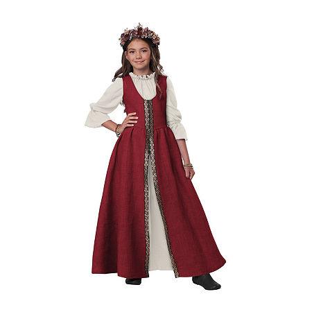 Child Renaissance Faire Dress Girls Costume, Large , Red