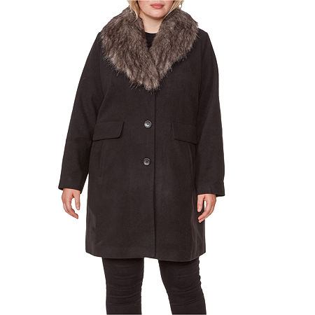 1940s Style Coats and Jackets for Sale Liz Claiborne Heavyweight Overcoat Plus 3x  Black $89.99 AT vintagedancer.com