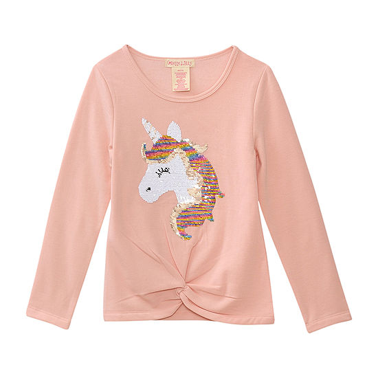 One Step Up Little Girls Crew Neck Long Sleeve Graphic T-Shirt
