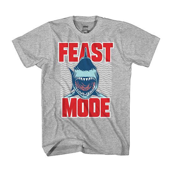 """Shark """"Feast Mode"""" Little & Big Boys Crew Neck Short Sleeve Graphic T-Shirt"""