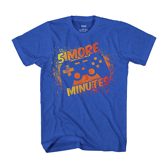 """5 More Minutes"" Video Games Little & Big Boys Crew Neck Short Sleeve Graphic T-Shirt"