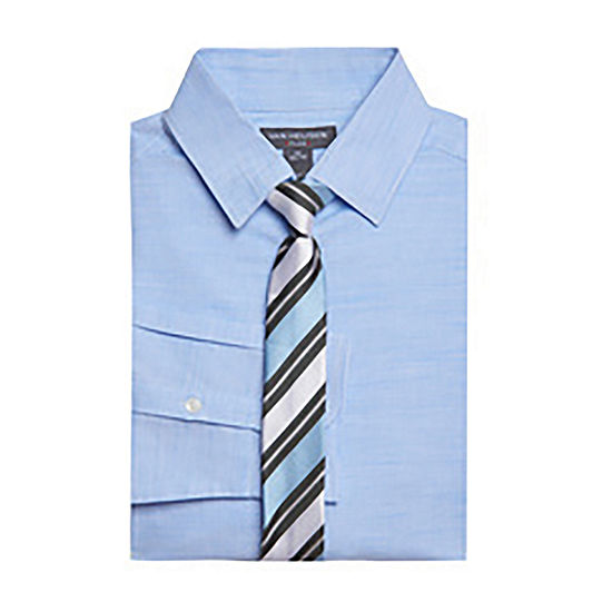 Van Heusen Big Boys Point Collar Long Sleeve Shirt + Tie Set