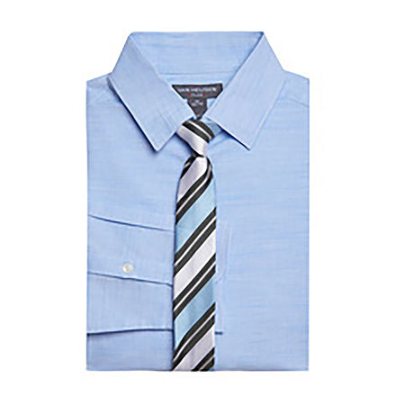 Van Heusen Big Boys Point Collar Long Sleeve Shirt + Tie Set. 14 . Blue