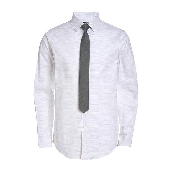 Van Heusen Big Boys Point Collar Long Sleeve Shirt + Tie Set
