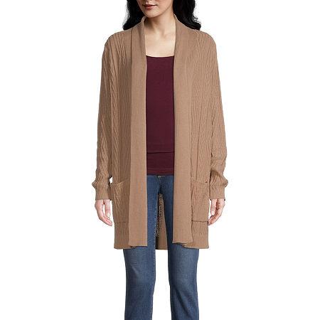 St. John's Bay Womens Long Sleeve Open Front Cardigan, Small , Beige