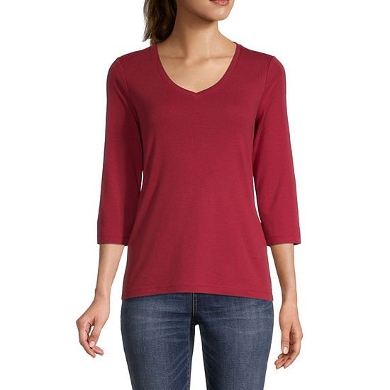 St. John's Bay Tall-Womens V Neck 3/4 Sleeve T-Shirt