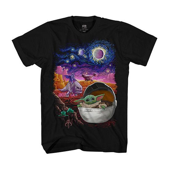 The Child Starry Night Mens Crew Neck Short Sleeve Star Wars Graphic T-Shirt
