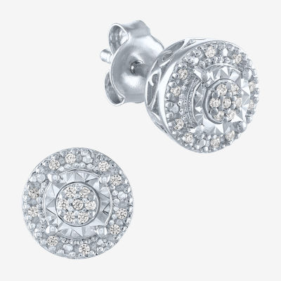 Limited Time Special! 1/10 CT. T.W. Genuine Diamond Sterling Silver 8.2mm Stud Earrings