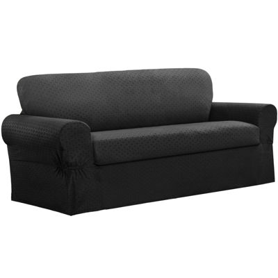 Maytex Smart Cover® Conrad Geometric Grid Stretch 2 Piece Sofa Furniture Cover Slipcover