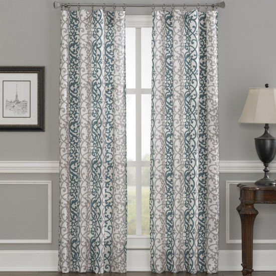 Damask Stripe Rod-Pocket Curtain Panel