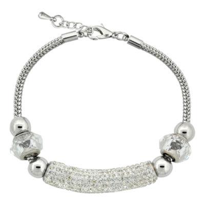 Dazzling Designs™ Silver-Plated Clear Crystal Pavé Bar Bracelet