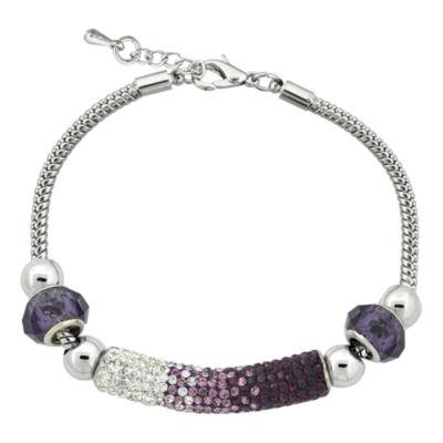 Dazzling Designs™ Silver-Plated Purple Crystal Pavé Bar Bracelet