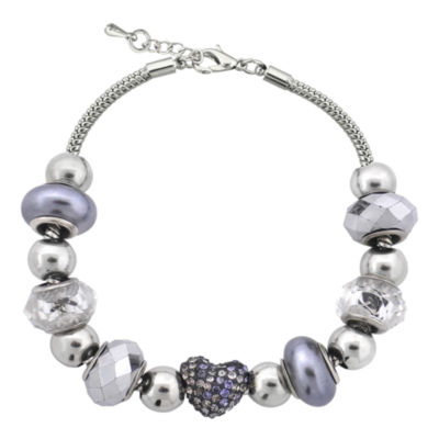 Dazzling Designs™ Silver-Plated Pavé Heart Artisan Glass Bead Necklace