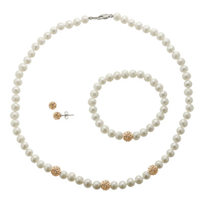 Cultured Freshwater Champagne Pearl & Crystal 3-pc. Jewelry Set