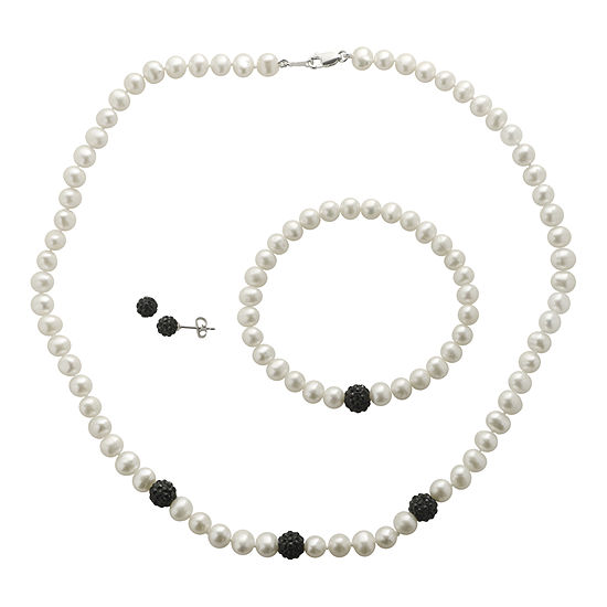 Cultured Freshwater Pearl & Black Crystal 3-pc. Jewelry Set