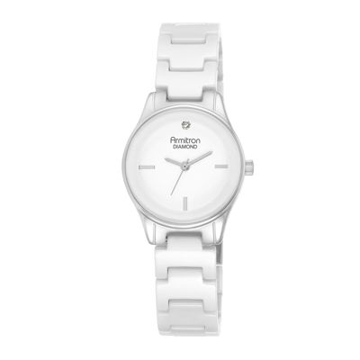 Armitron® Now® Womens Diamond-Accent Silver-Tone Ceramic Bracelet Watch 75/5348WTSV