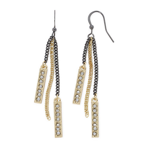 Bold Elements Mixed Metal Chain Linear Earrings