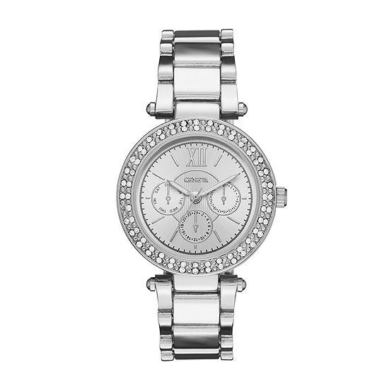 Geneva Womens Silver-Tone Bracelet Watch