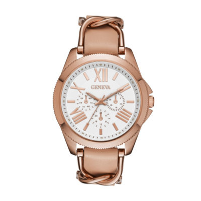 Geneva Womens Rose Gold Strap Watch