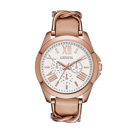 Geneva Womens Rose Gold Strap Watch