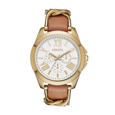 Geneva Gold-Tone Womens Strap Watch