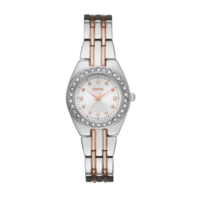 Geneva Womens Silver and Rose Gold-Tone Bracelet Watch