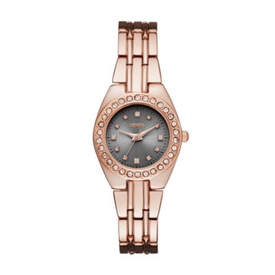 Geneva Womens Rose Gold-Tone and Gray Bracelet Watch