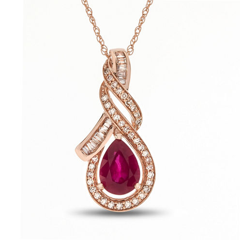 Womens 1/5 CT. T.W. Red Lead-glass Filled Ruby 14K Rose Gold Pendant Necklace