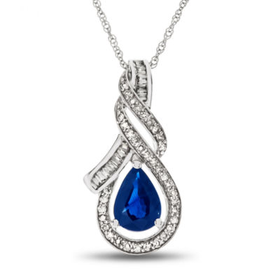 Womens 1/5 CT. T.W. Blue Sapphire 14K Gold Pendant Necklace