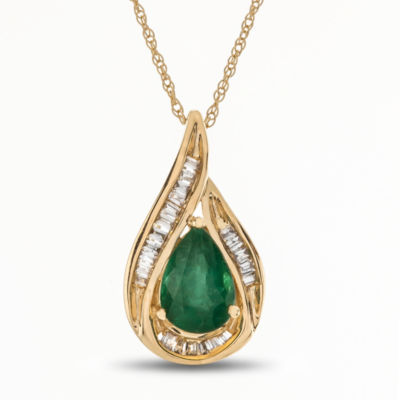 Womens 1/10 CT. T.W. Genuine Green Emerald 14K Gold Pendant Necklace