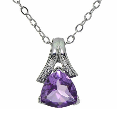 Womens Diamond Accent Purple Amethyst Sterling Silver Pendant Necklace