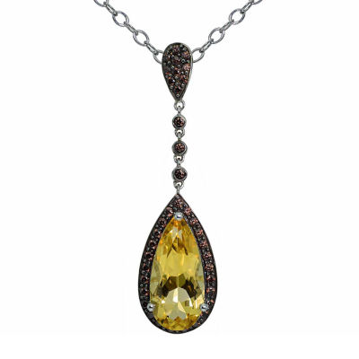 Womens Orange Citrine Sterling Silver Pendant Necklace