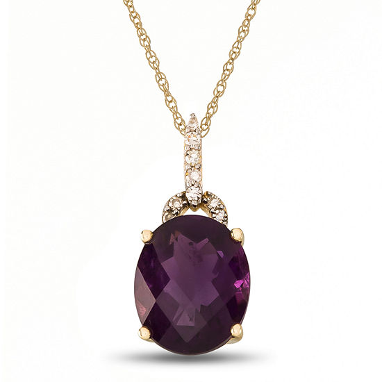 Womens Diamond Accent Genuine Purple Amethyst 10K Gold Pendant Necklace