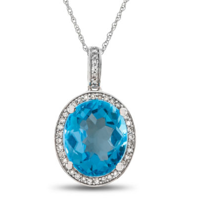 Womens 1/8 CT. T.W. Genuine Blue Topaz 10K Gold Pendant Necklace