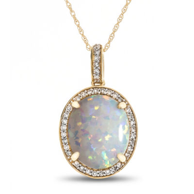Womens 1/8 CT. T.W. Lab Created Multi Color Opal 10K Gold Pendant Necklace
