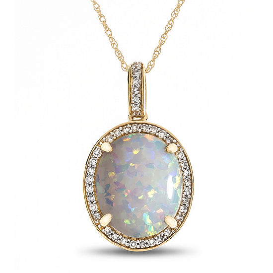 Womens 1/8 CT. T.W. Lab Created White Opal 10K Gold Pendant Necklace
