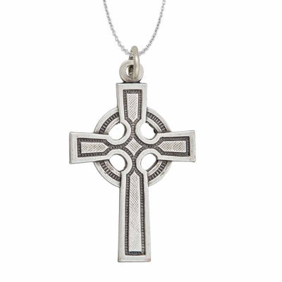 """Sterling Silver Rhodium Oxidized Antique Textured Circle Cross 18"""" Pendant Necklace"""