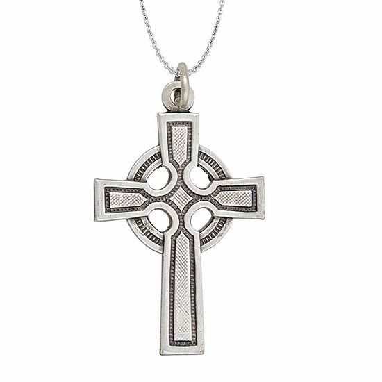 "Sterling Silver Rhodium Oxidized Antique Textured Circle Cross 18"" Pendant Necklace"