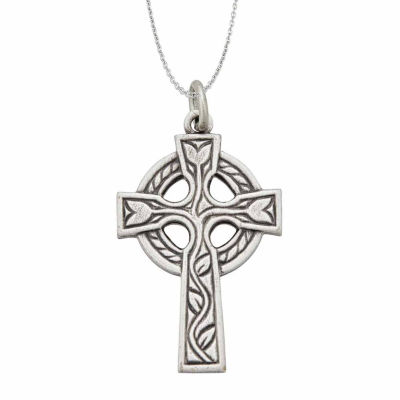 """Sterling Silver Rhodium Oxidized Antique Circle of Life Cross 18"""" Pendant Necklace"""