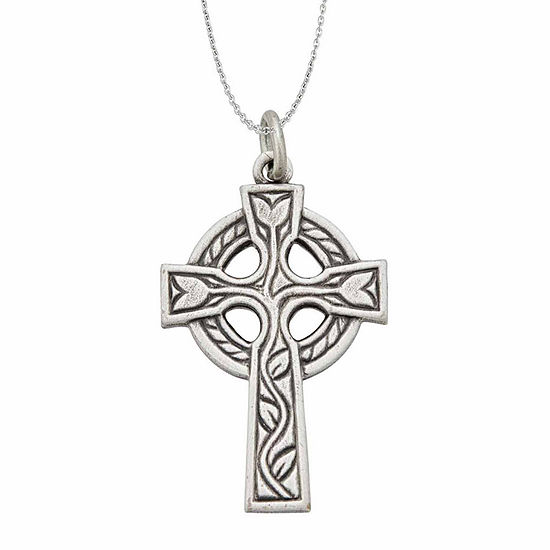 "Sterling Silver Rhodium Oxidized Antique Circle of Life Cross 18"" Pendant Necklace"