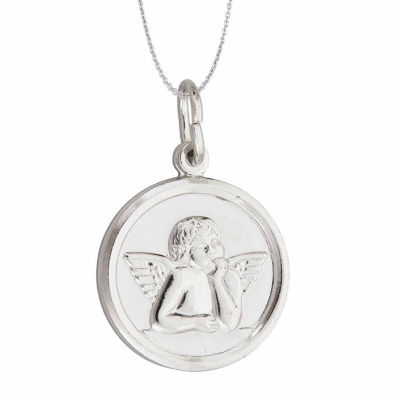"Sterling Silver Round Cherub Angel Medal 18"" Pendant Necklace"