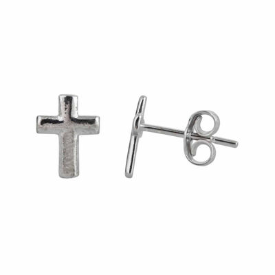 Sterling Silver Polished Cross Stud Earrings
