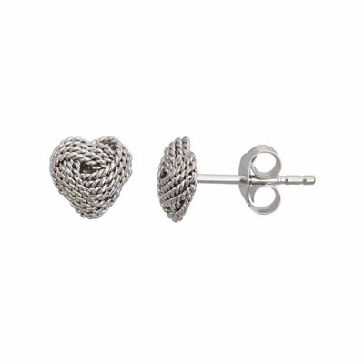Sterling Silver Love Knot Heart Stud Earrings