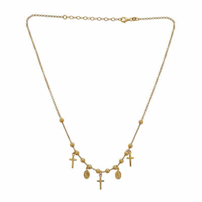14K Yellow Gold over Silver Religious Necklace